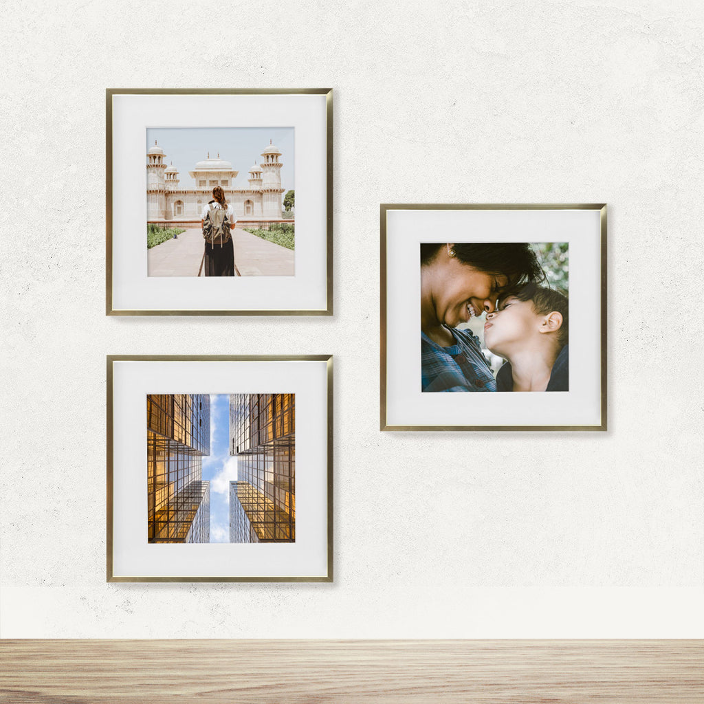 NEW 3-Pack, Gold Metal, 11x11 Photo Frame (8x8 Matted)