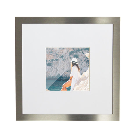 NEW 3-Pack, Brushed Silver, 8x8 Photo Frame (4x4 Matted)