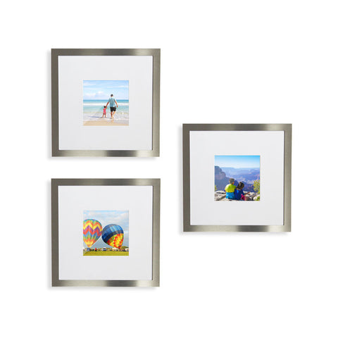 NEW 9-Pack, Brushed Silver, 8x8 Photo Frame (4x4 Matted)