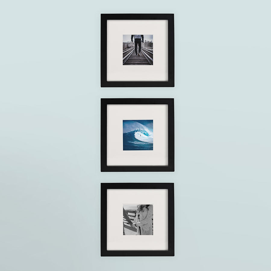 3 Pack Black 8x8 Photo Frame 4x4 Matted Tiny Mighty Frames