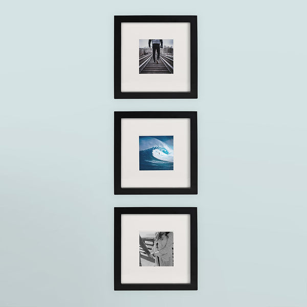 3 Pack Black 8x8 Photo Frame 4x4 Matted Tiny Mighty