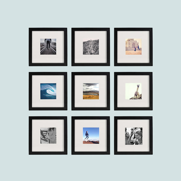 9 Pack Black 8x8 Photo Frame 4x4 Matted Tiny Mighty