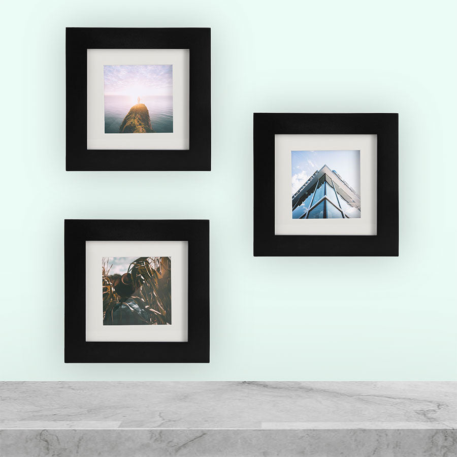 3 Pack Black 6x6 Photo Frame 4x4 Matted Tiny Mighty Frames