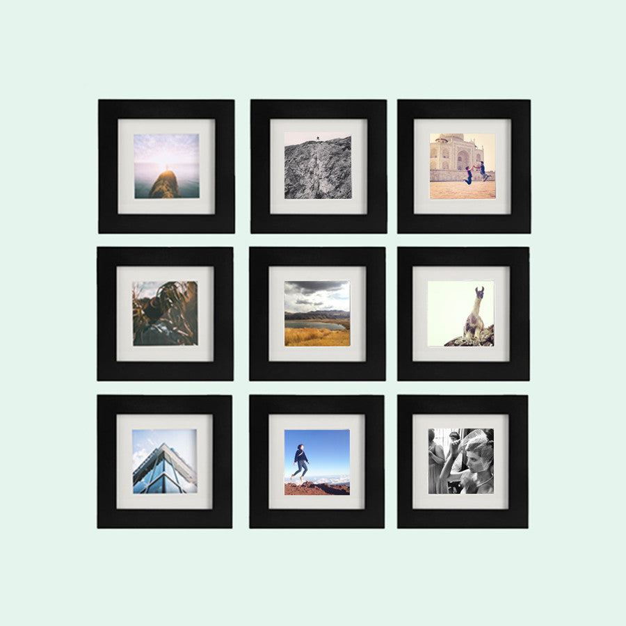 9 Pack Black 6x6 Photo Frame 4x4 Matted Tiny Mighty Frames