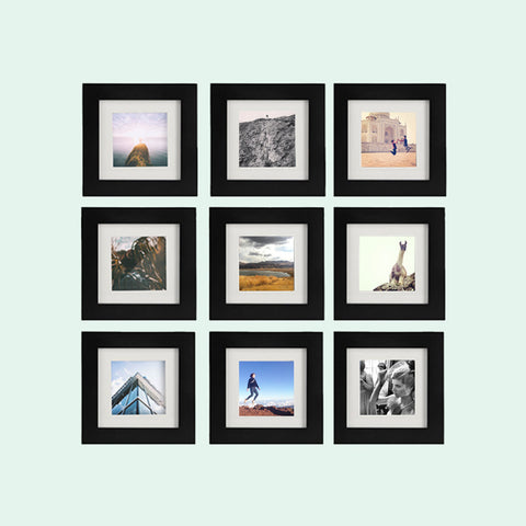 9-Pack, Black, 6x6 Photo Frame (4x4 Matted)