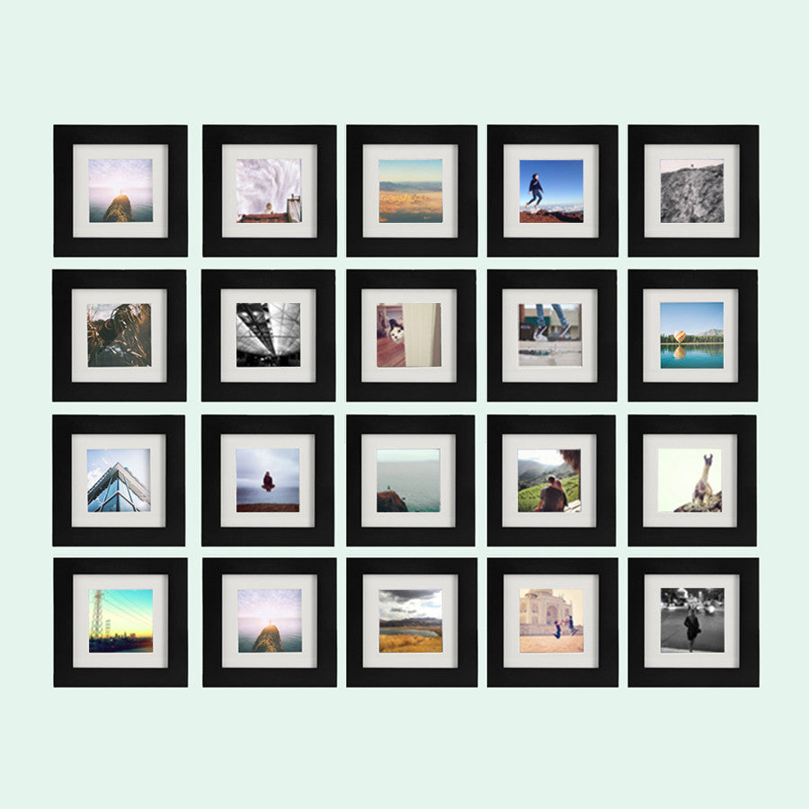 20 pack black 6x6 photo frame 4x4 matted