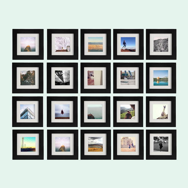 20 Pack Black 6x6 Photo Frame 4x4 Matted Tiny Mighty