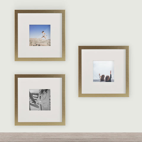 3 pack brushed gold 8x8 photo frame 4x4 matted