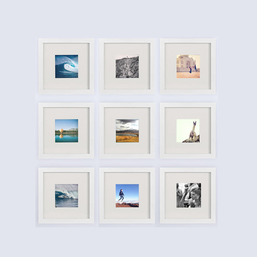 9 pack white 8x8 photo frame 4x4 matted - White Square Frames