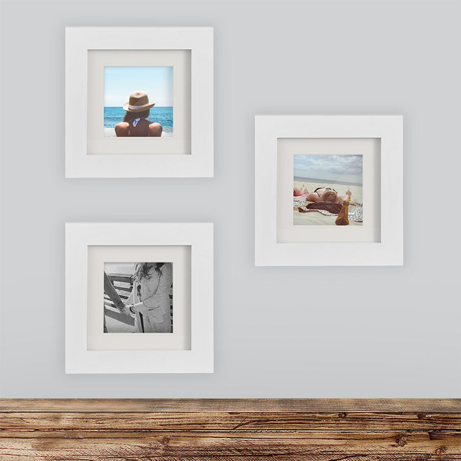 3 Pack White 6x6 Photo Frame 4x4 Matted Tiny Mighty