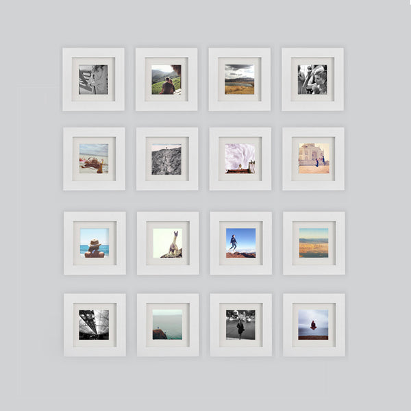 16 Pack White 6x6 Photo Frame 4x4 Matted Tiny Mighty