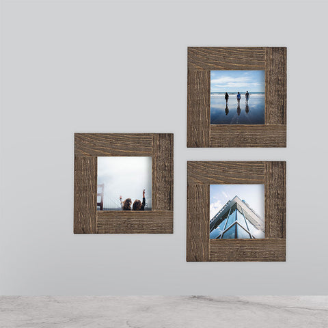 3-Pack, Distressed Wood, 4x4 Photo Frame