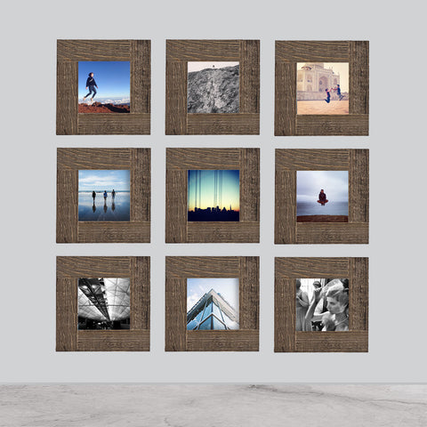 9-Pack, Distressed Wood, 4x4 Photo Frame