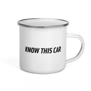 """Know This Car"" Logo Enamel Mug"