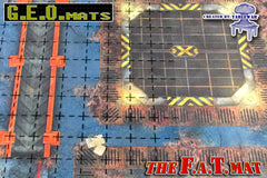 "GEO Mat Square 1"" Grid Black transparent gaming mat overall"