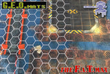"GEO Mat Hex 1"" Grid White transparent gaming mat overall"