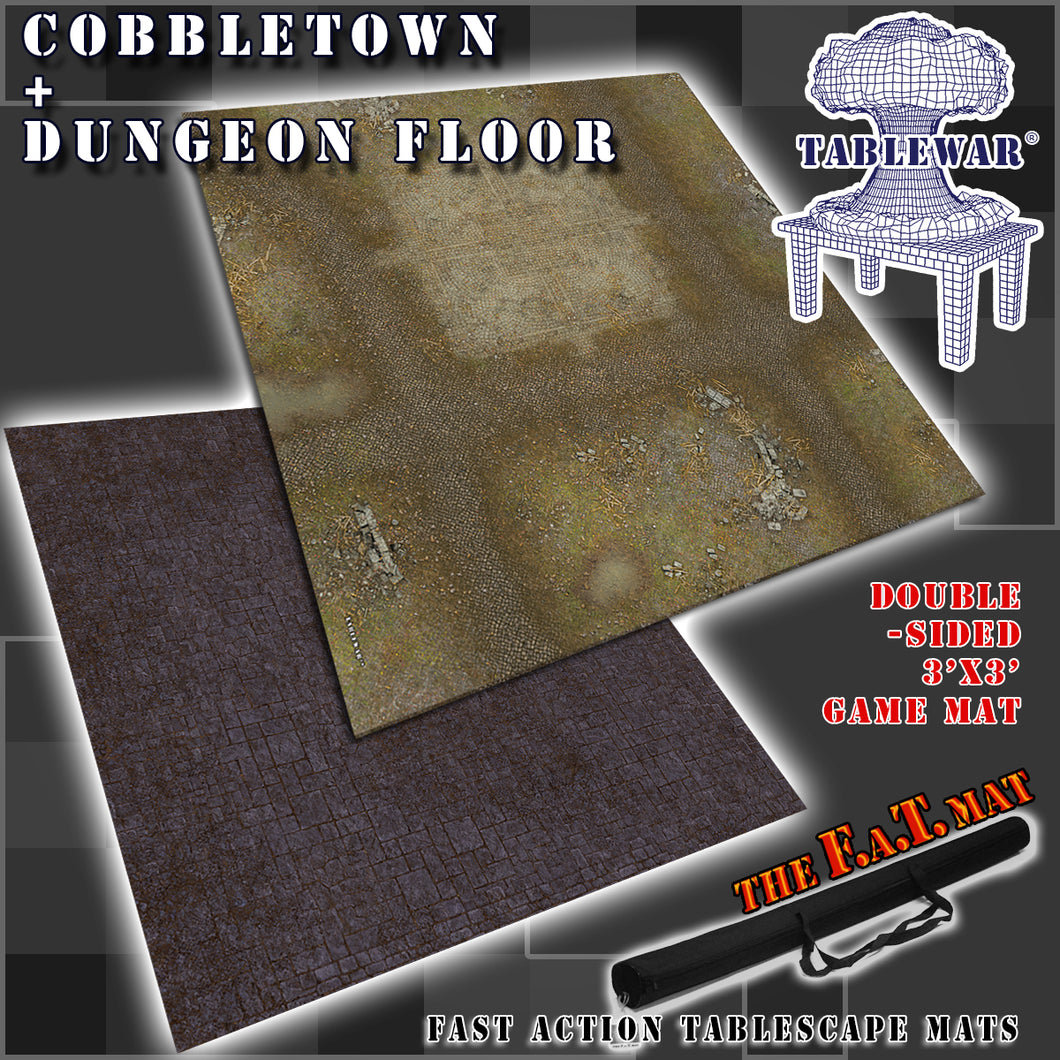 3x3' Dbl Sided 'Cobbletown + Dungeon Floor' F.A.T. Mat Gaming Mat