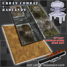 "Load image into Gallery viewer, 30x22"" Dbl Sided 'Urban Combat' + 'Badlands' F.A.T. Mat Gaming Mat"