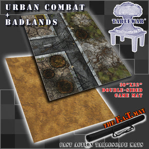 "30x22"" Dbl Sided 'Urban Combat' + 'Badlands' F.A.T. Mat Gaming Mat"