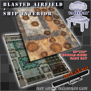 "30x22"" Dbl Sided 'Ship Interior' + 'Blasted Airfield' F.A.T. Mat Gaming Mat"