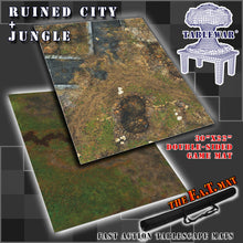 "Load image into Gallery viewer, 30x22"" Dbl Sided 'Ruined City' + 'Jungle' F.A.T. Mat Gaming Mat"