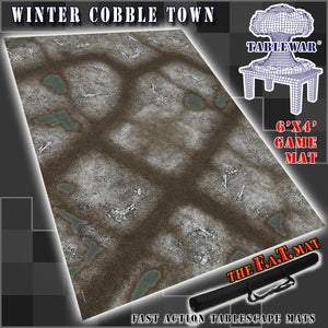 6x4 'Winter Cobble Town' F.A.T. Mat Gaming Mat