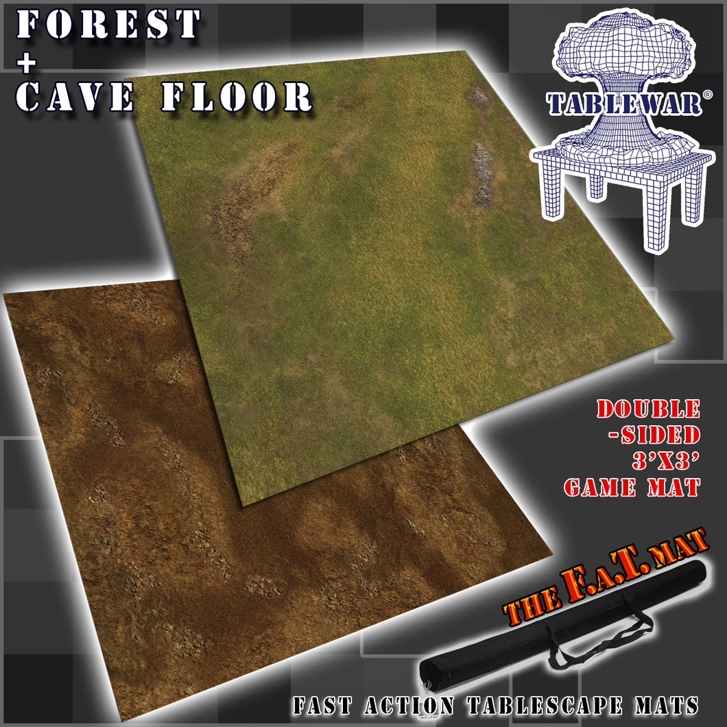 3x3' Dbl Sided 'Forest + Cave Floor' F.A.T. Mat Gaming Mat