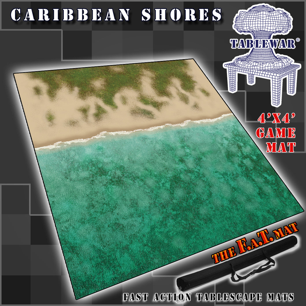 4x4 'Caribbean Shores (lighter ocean + shoreline)