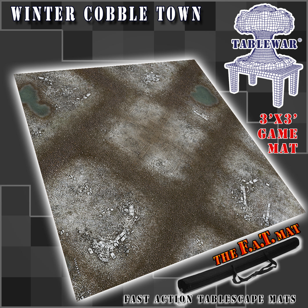 3x3 'Winter Cobble Town' F.A.T. Mat Gaming Mat