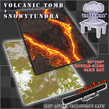 "Load image into Gallery viewer, 30x22"" Dbl Sided 'Snowy Tundra' + 'Volcanic Tomb' F.A.T. Mat Gaming Mat"