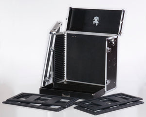 Case opens fully with removable door. Modular format allows a variaety of miniatures to usilize this hobby case
