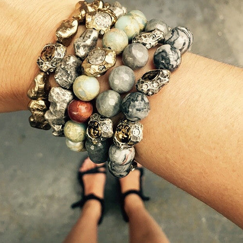 SIENA CRAZY LACE AGATE STRETCH BRACELET