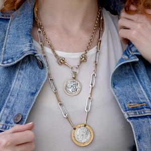 GOLD ZEUS CRYSTAL BEZEL HORSEBIT NECKLACE
