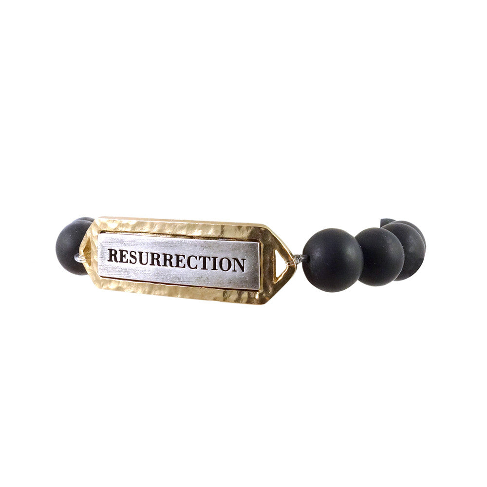 GOLD & ONYX RESURRECTION STRETCH BRACELET