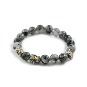 SIENA BLACK RUTILATED QUARTZ STRETCH BRACELET
