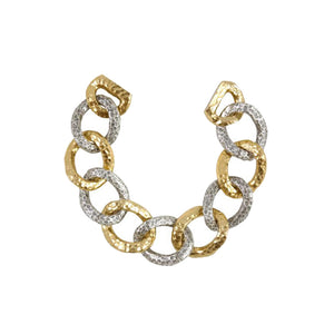 TWO TONE CHARIOT HAMMERED LINK BRACELET