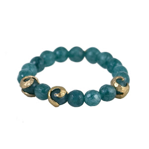 GOLD ALICANTE BLUE JADE SWIRL STRETCH BRACELET