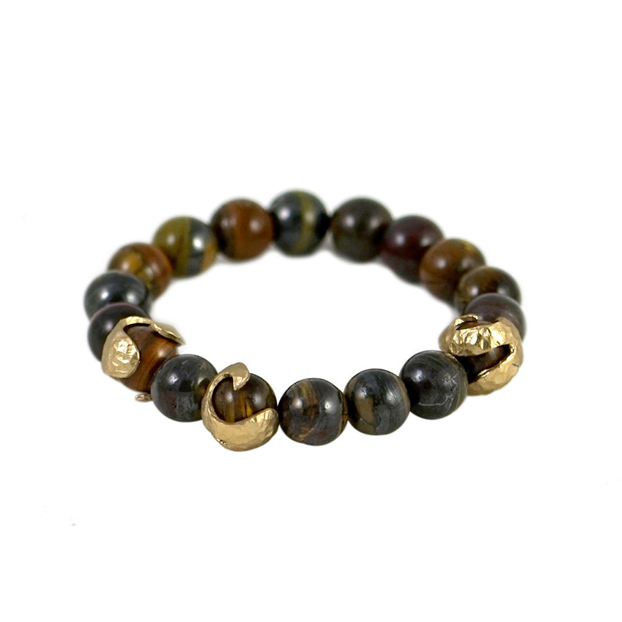 GOLD ALICANTE TIGER'S EYE SWIRL STRETCH BRACELET