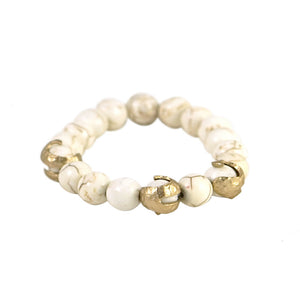 GOLD ALICANTE WHITE TURQUOISE SWIRL STRETCH BRACELET