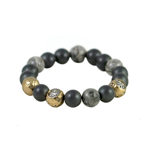 GOLD CERA HEMATITE & CRAZY LACE STRETCH BRACELET