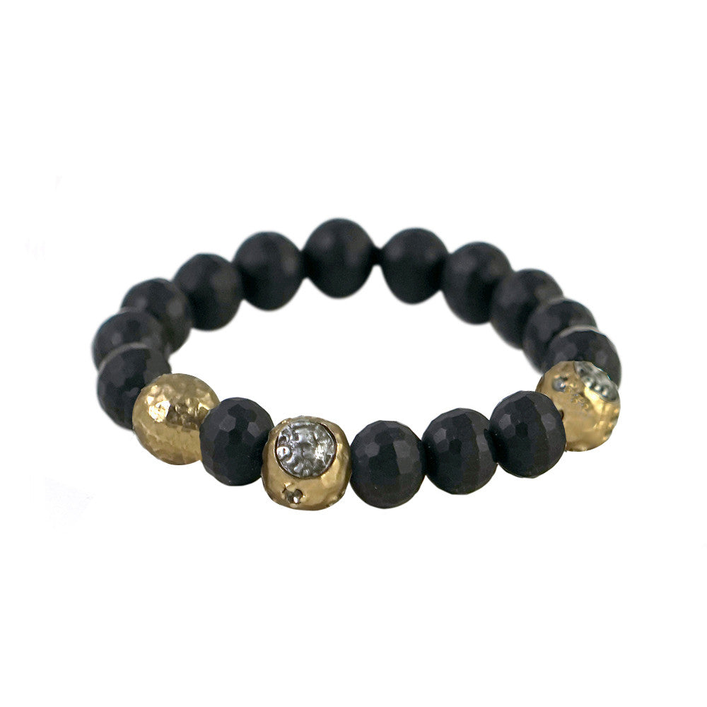 GOLD CERA FACETED BLACK ONYX STRETCH BRACELET