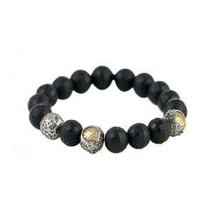 VS CERA FACETED BLACK ONYX STRETCH BRACELET