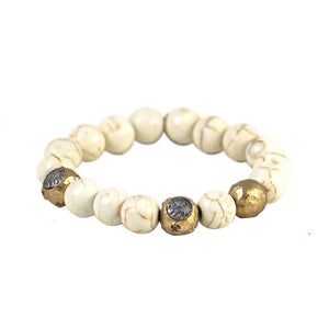 GOLD CERA WHITE TURQUOISE STRETCH BRACELET