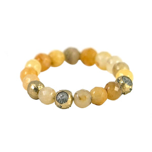 GOLD CERA FACETED YELLOW JADE STRETCH BRACELET