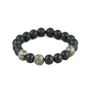 VS LOGRONO MENS HEMATITE STRETCH BRACELET