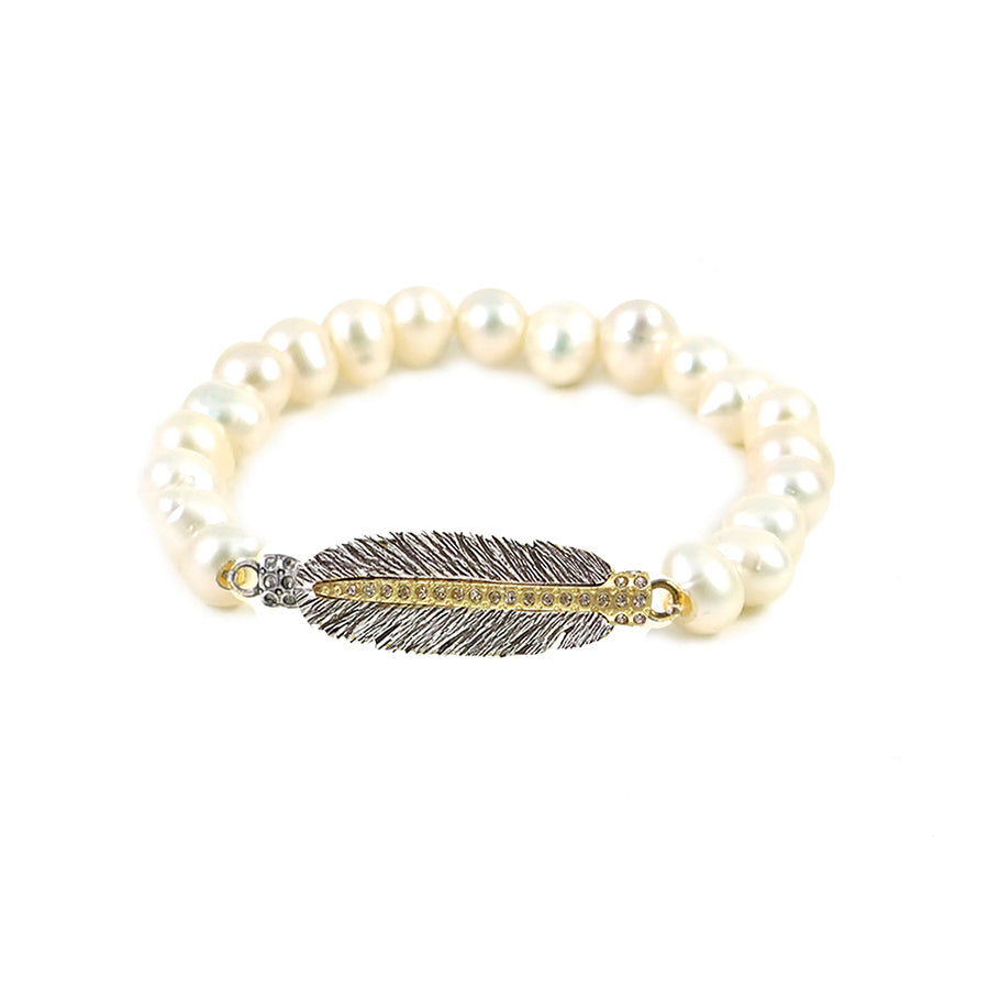 VINTAGE SILVER MINI CASBAH FEATHER PEARL STRETCH BRACELET