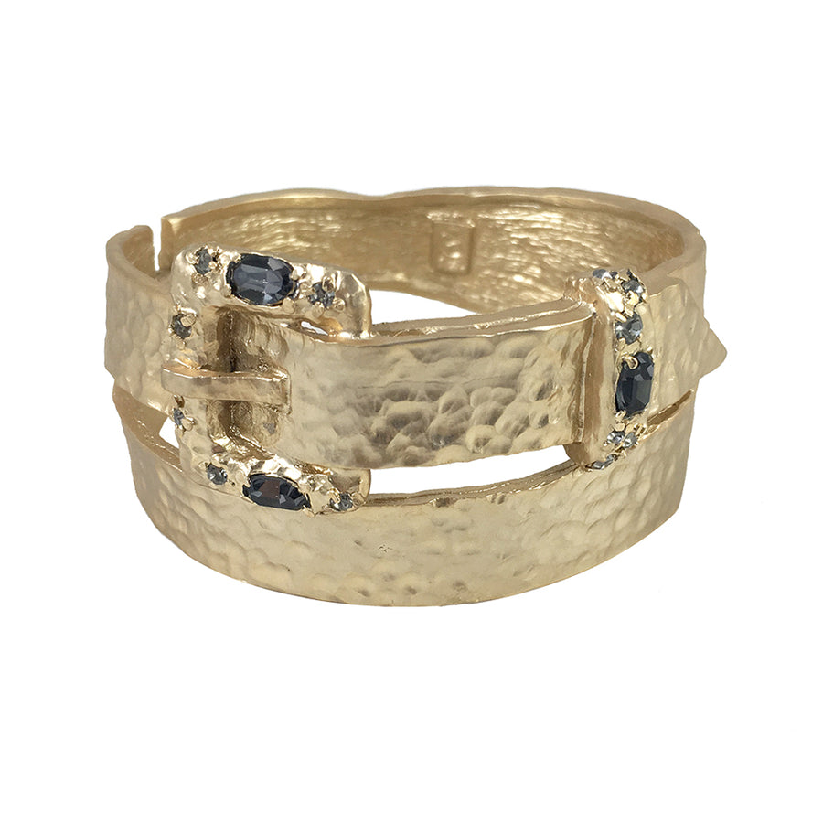 GOLD & BLACK DIAMOND BUCLA WRAP BANGLE