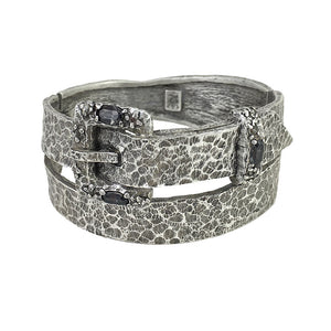 VINTAGE SILVER & BLACK DIAMOND BUCLA WRAP BANGLE