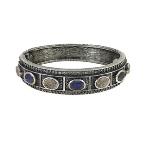 VINTAGE SILVER LABRADORITE BELA OVAL BANGLE