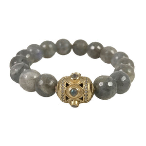GOLD LABRADORITE BELA OVAL STRETCH BRACELET